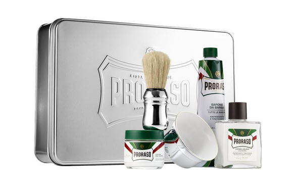 Proraso Shaving Gift-Set - Includes Metal, Box, Mug, Brush, Cream, Balm, and Pre-Shave
