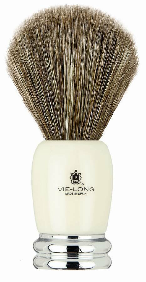 Vie-Long Shave Brush, Brown Horse Hair Acrylic & Metal, Ivory & Silver VL-14030