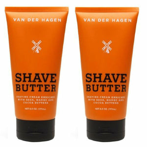 Van Der Hagen 2-Pack Shave Butter Shaving Cream 6oz Shea Mango and Cocoa Butter
