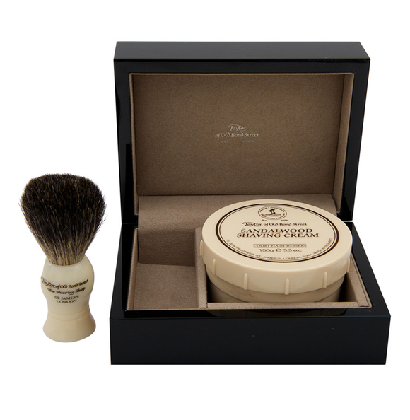 Taylor of Old Bond Street - Gift Set - Badger Brush, Sandalwood Cream, Piano Box