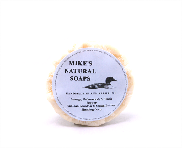 Mike's Natural Shaving Soap Puck - Orange, Cedarwood, & Black Pepper