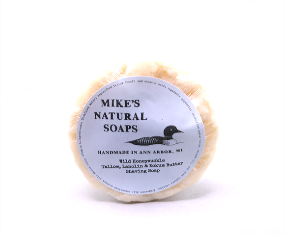 Mike's Natural Shaving Soap Puck - Wild Honeysuckle Scent