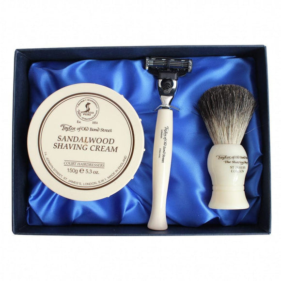 Taylor of Old Bond Street No.74 Sandalwood Satin Lined Gift Box Pure Badger 150g