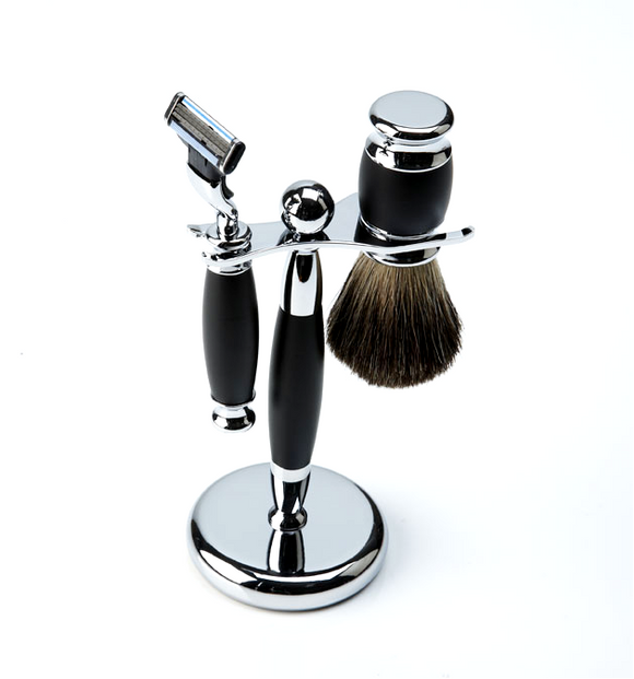 Col Conk 4 Pc Gift set, W/ Mach 3 Razor, Boar Brush, Stand, & Soap Puck