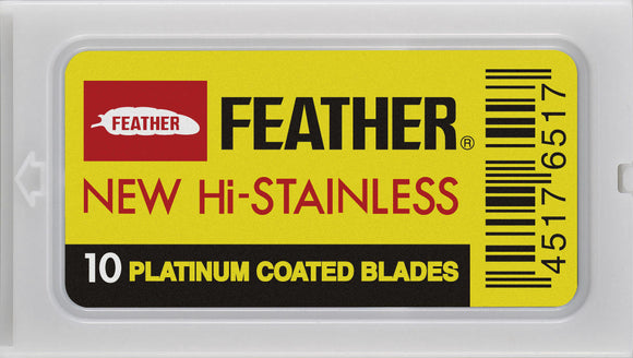 Feather Double-Edge Safety Razor Blades are a green and cost-efficient alternative to purchasing the disposable, cartridge-based razors.  FEATURES  Very sharp and long-lasting  Coated in platinum to prevent rust and increase its durability  Compatible with modern double edge safety razors (Merkur, Parker, Edwin Jagger, etc.) NOTE: Feather Black and Yellow, blades are crafted with the same materials. The only difference lies in how they are packaged:
