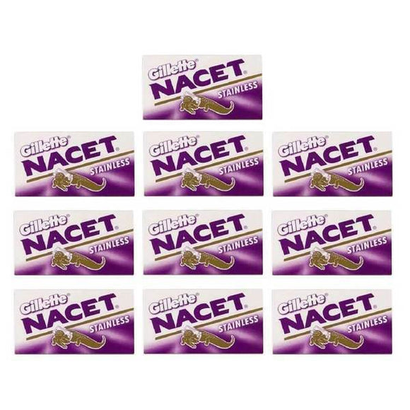 100 Gillette Nacet Stainless Steel Double Edge Razor Blades