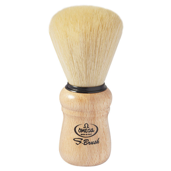 Omega S-Brush Synthetic Fiber Shaving Brush, Beechwood Handle S10005