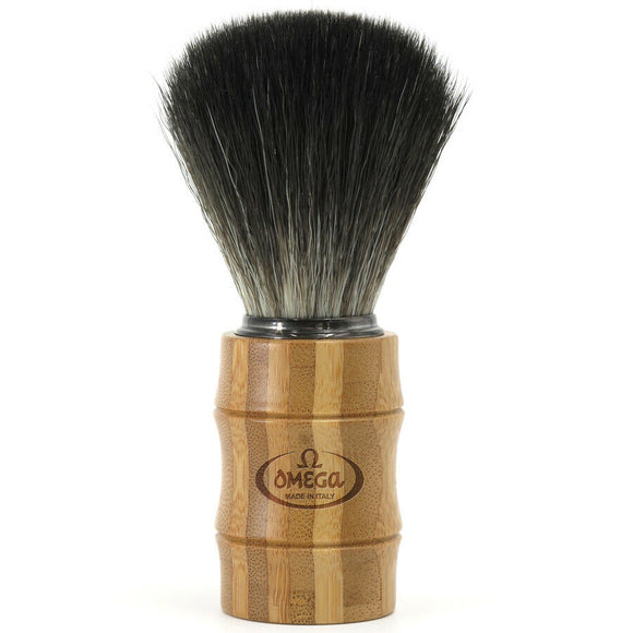 Omega Black Hi-BRUSH Synthetic Fiber Shave Brush w/ Bamboo Handle 0196831