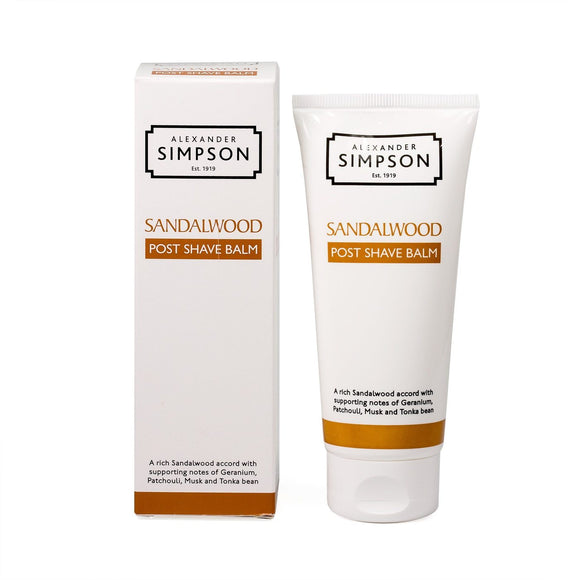 Heal skin with Simpsons Post Shave Balm, scented with sandalwood.