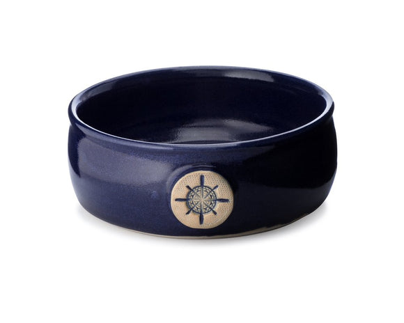 This lather bowl brings a sense of masculinity to any bathroom!  It is glazed in a high-gloss, deep cobalt blue, evoking a unique richness that is simply stunning.   Handcrafted by a local potter to our specifications, each lather bowl begins as a lump of clay on a potter's wheel.  The beauty of this handmade item is that each one will differ slightly.  The natural differences in th