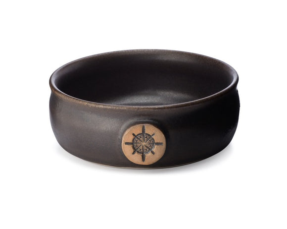 This lather bowl has a rugged warmth that is hard to beat.  Coated in a leather-brown glaze with a satin finish, it is beautiful to see and lovely to grasp.  A prized feature of this glaze is that it can often provide granular texture to the inside and outside of the bowl. If you seek rustic charm you have come to the right place with one of our Rawhide lather bowls!