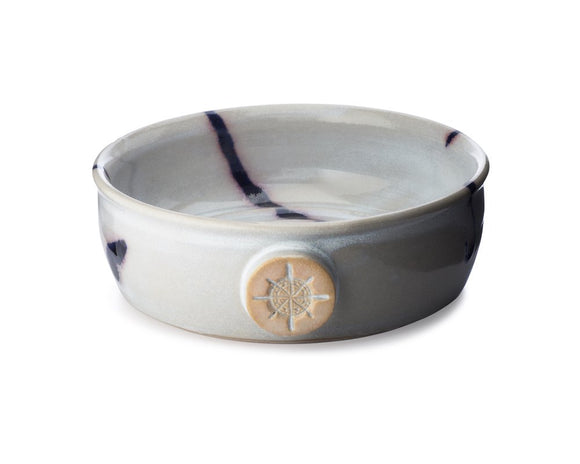 Captain's Choice - Lather Bowl - Blue Sky  Lazy summer days, not a care in the world—welcome to the vibe of Blue Sky.  Proudly handcrafted in America.  Sporting an off-white/very light gray foundation and overlaid with deep cobalt accents, just one look at this lather bowl will brighten your day and bring a smile to your face.  Some bowls have a gorgeous blending as the blue accents are bordered by a misty pink.  This special effect is hard to come by and yet mystical when it happens.