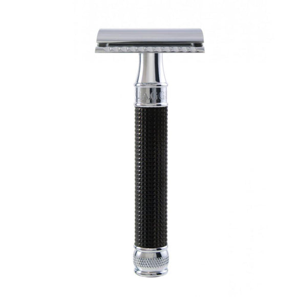 Edwin Jagger - Double Edge Safety Razor Black Chrome 3D Laser Diamond Grip Handle