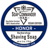 From Soap Commander:  Our traditional-style barbershop includes a mix of bergamot, orange, basil leaf, oakmoss, patchouli, aromatic spices, and a hint of honey and tobacco.    Soap Commander Vegan-Based Shaving Soaps provide rich, thick, and creamy lather that both moisturize and protect for close and comfortable shave experience...even against the grain.  Our Shea Butter enriched shaving soaps are specially formulated to assist your razor in protection and glide