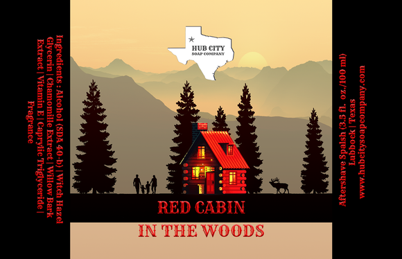 Hub City Soap Company - Aftershave Splash -  Red Cabin in the Woods