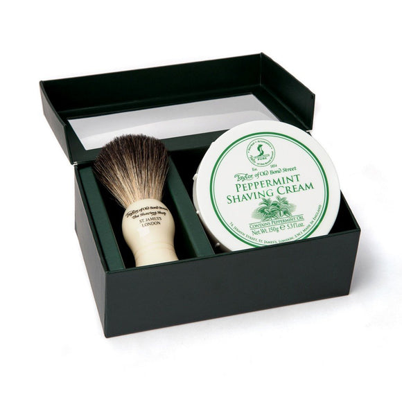 Taylor of Old Bond Street Pure Badger Brush & Peppermint Cream Gift Box