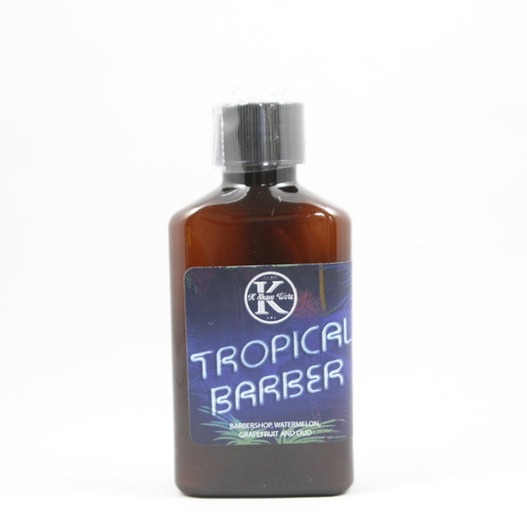 Product Description  Tropical Barber Shave Soap- 4oz  This is an awesome summer scent that you have to have! It is Barbershop, Watermelon, Grapefruit and Oud!