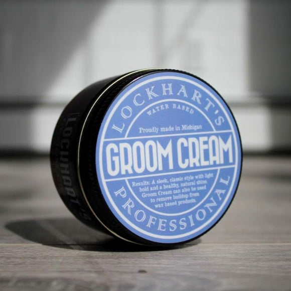 LOCKHART'S PROFESSIONAL GROOM CREAM  PERFORMANCE: HOLD: Light SHINE: Natural/High TEXTURE: Creamy SCENT: Tangerine/Bergamot