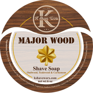 K Shave Worx - Major Wood  - Shave Soap, 6 oz