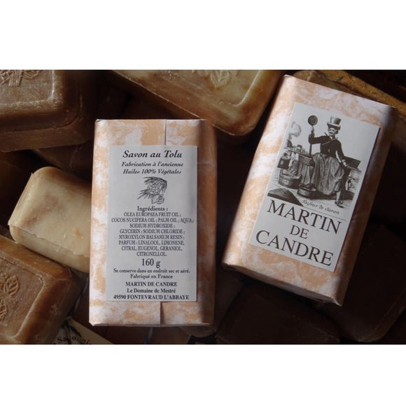 Martin de Candre - Bar Soap 160g - Tolu  Description The Tolu Balm, a close cousin of the Peruvian Balm, is extracted from a fir tree native to South America (El Salvador, Peru), by