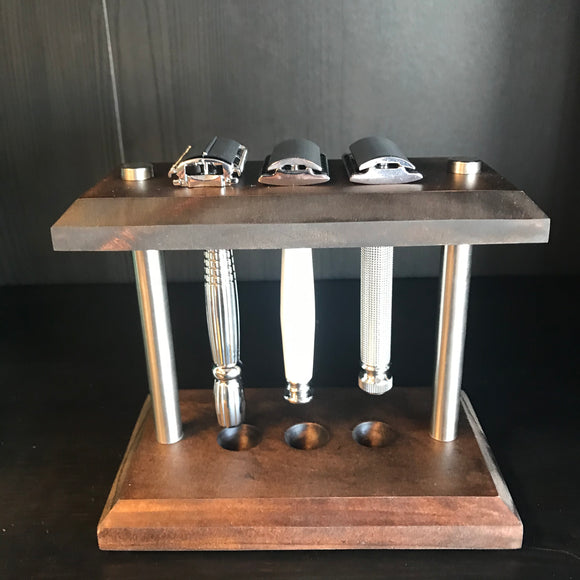 Custom multi-razor stand.     Made Locally in Michigan   Great for storage or displaying your razors.   Made from top quality materials to create the ultimate razor stand! Perfect for double-edge, or cartridge razors.  This stand is built to accommodate razors of all sizes.  Short handle, long handle, thick handle and regular size handles will work with this stand.