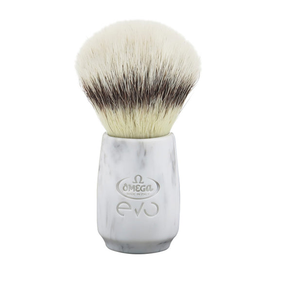 Omega - E1855 Evo Synthetic Fiber Shaving Brush - Marble Oval