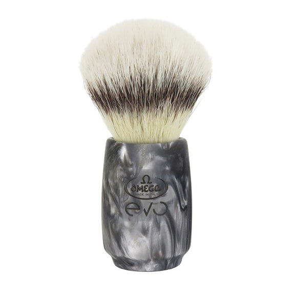 Omega - E1866 Evo Synthetic Fiber Shaving Brush - Metal Oval