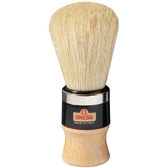 20102 Omega Pure bristle shaving brush – metal ring – Professional