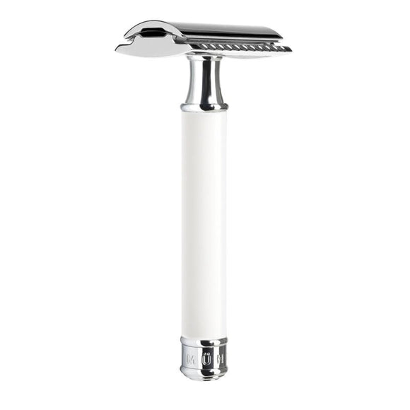 Muhle R107 Closed Comb Safety Razor - White and Chrome