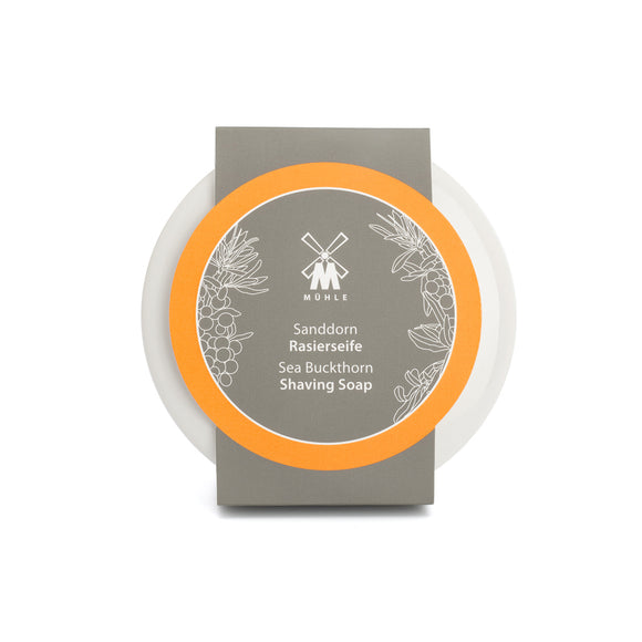 Muhle Shaving Soap in Porcelain Bowl- Sea Buckthorn  60 mm, 2.4 inch  All MÜHLE soaps are made from very elaborate recipes that perfectly prepare the skin and beard at a particularly careful and mild shave. A benefactor fun!  Sea Buckthorn ? fruity and fresh  Fresh-fruity care to complete the perfect wet shave: The sea buckthorn extract contained in the MÜHLE soap is rich in palmitic acid that supports skin regeneration in a natural way. With fine fragrance notes of lime and orange.