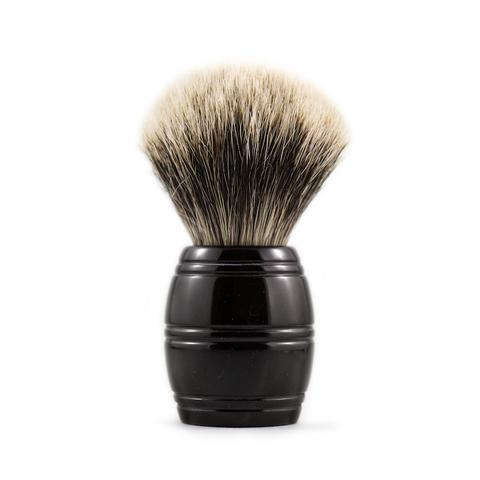 From Razorock:  The RazoRock 24 Barrel finest is a brush we are very excited about, a handle that took us much time to execute properly. Although the barrel seems like a simple design, it's proportions are critical to achieve both aesthetic beauty and great feel. The brush is very comfortable in the hand and great for face lathering because your thumb, pointer and middle fingers get close to the base of the knot when held This 24 Barrel brush is fitted with a densely packed 24 mm finest badger knot.