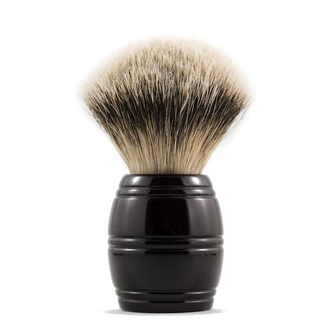 The RazoRock 24 Barrel Silvertip is a brush we are very excited about, a handle that took us much time to execute properly. Although the barrel seems like a simple design, it's proportions are critical to achieve both aesthetic beauty and great feel. The brush is very comfortable in the hand and great for face lathering because your thumb, pointer and middle fingers get close to the base of the knot when held, a traditional shaving brush.  RazoRock silvertip badger knots are densely packed