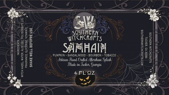 "Aftershave splash in our high-quality base. Alcohol-free.  Samhain is a Gaelic festival marking the end of the harvest season and the beginning of winter or the ""darker half"" of the year. This holiday was the inspiration for our fragrance.  Notes: bourbon, tobacco, pumpkin, sandalwood, nutmeg, oud, incense, amber, vanilla, hazelnut, charred wood, musk  Ingredients: Witch hazel, water, aloe gel, fragrance, vitamin E, glycerin  Net Weight 4oz."