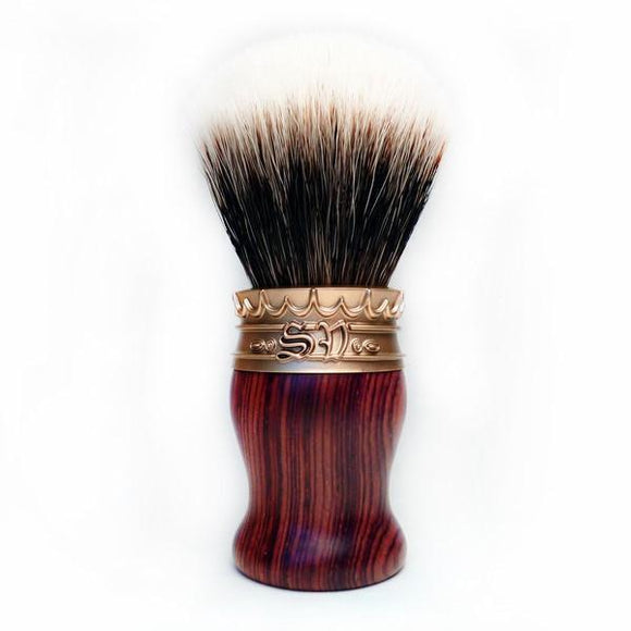 Saponificio Varesino - High Mountain White Badger Shaving Brush - Cocobolo with Golden Pewter