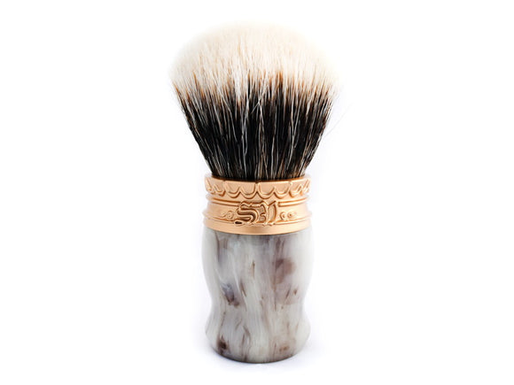 Saponificio Varesino - High Mountain White Badger Shaving Brush - Faux Horn Silver Pewter