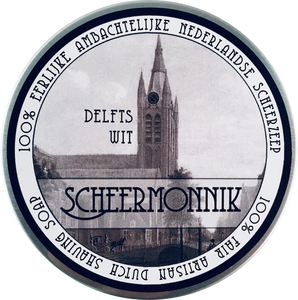 Scheermonnik Classic Shaving Soap - Delfts Wit DELFTS WIT  A woody scent that has notes of bergamot, cedarwood, patchouli and oakmoss. Finished with cardamom, vanilla bourbon and allspice.  75g Tins  Made in the Netherlands  Scheermonnik Shaving Soaps: