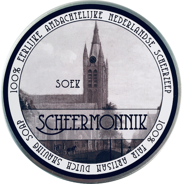SOEK  A blend of myrrh and orange with middle notes of ginger, cinnamon and cloves. It is then rounded out with caraway seed and vanilla to give it a warm, soothing feeling. This scent is a fine balance of spice, warmth and sweetness.  Handmade in Delft Netherlands.  Scheermonnik (or 'shaving monk' in English) is an artisan shaving soap from the historic city center of Delft in the Netherlands.