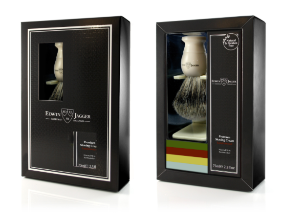Edwin Jagger Imitation Ivory Shaving Brush And Cream Gift Set - Sandalwood