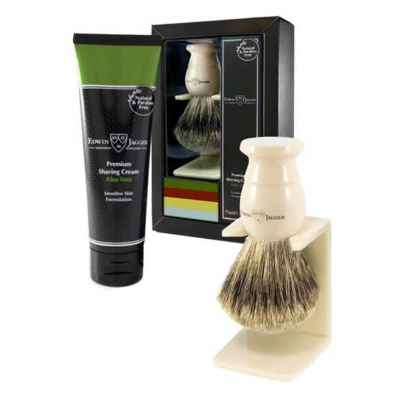 Edwin Jagger Imitation Ivory Shaving Brush And Cream Gift Set - Aloe Vera