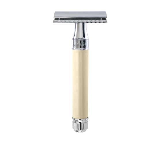Edwin Jagger Rubber Coated (Ivory) DE Safety Razor,