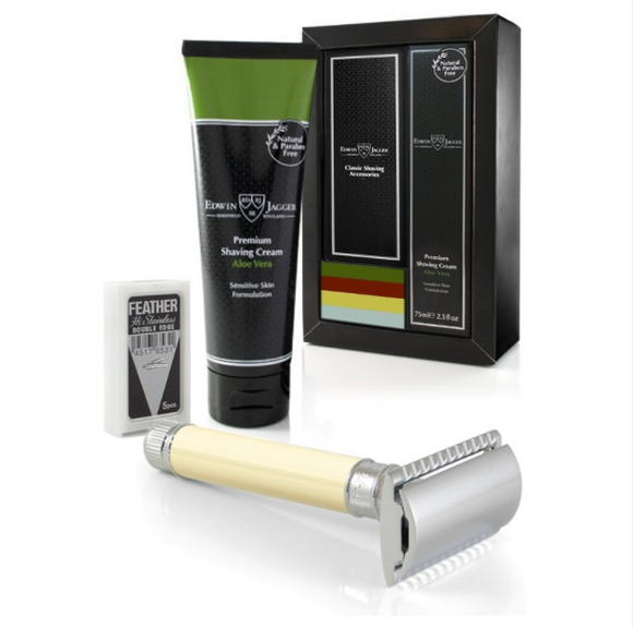 Edwin Jagger DE87 Razor And Shaving Cream Gift Set - Aloe Vera