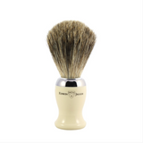 Edwin Jagger Chrome Shaving Brush (Pure Badger).   A contemporary style brush, finished with bright chrome trim and filled with genuine Pure Badger hair. Will provide a good lather when used with a quality shaving cream or soap. Also available with a matching razor and gleaming chrome stand.  Overall height 103mm  Knot size 21mm We recommend that, after daily use, shaving brushes are thoroughly rinsed in warm water and hung to dry in a stand.