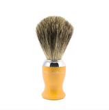 Edwin Jagger Yellow Shaving Brush (Pure Badger).   A contemporary style brush, finished with bright chrome trim and filled with genuine Pure Badger hair. Will provide a good lather when used with a quality shaving cream or soap. Also available with a matching razor and gleaming chrome stand.  Overall height 103mm  Knot size 21mm We recommend that, after daily use, shaving brushes are thoroughly rinsed in warm water and hung to dry in a stand.