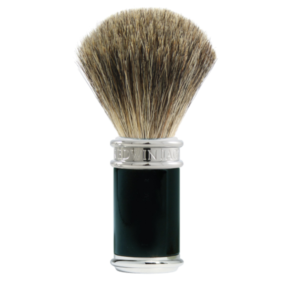Edwin Jagger Black/Chrome Pure Badger Shaving Brush