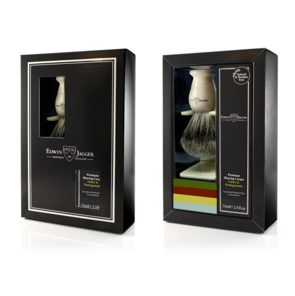 Edwin Jagger Imitation Ivory Shaving Brush & Cream Gift Set  Limes & Pomegranate