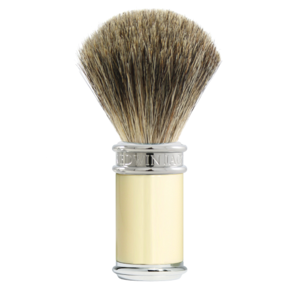DETAILS Overall height 105mm (4.12 inches) Handle height 54mm (2.12 inches) Handle diameter 27mm (1.06 inches) Knot size 21mm This super shaving brush is filled with pure badger hair and, sued with good quality shaving cream or shaving soap will produce a good lather. The hair is firm and is entry level quality. The brush is well balanced for a great wet shave. Also perfect match for the DE87 razor  Smart imitation ivory chrome plated collar & end cap •21mm pure badger knot