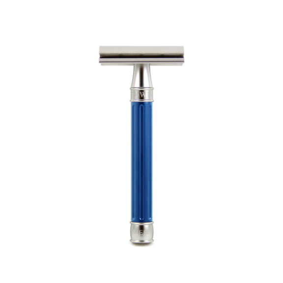 Edwin Jagger 3ONE6 Stainless Steel Blue DE Safety Razor