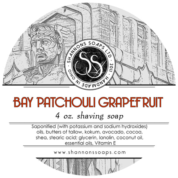 Shannon's Soaps - Shaving Soap - Bay Patchouli Grapefruit