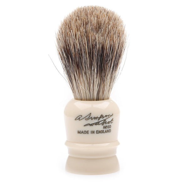 The Simpson Wee Scot Best Badger Shaving Brush is wonderfully functional compact brush. It is the smallest brush in production and is crafted with all of the expertise of Simpsons' other brushes. The miniature knot is handpacked into an off-white handle with the Simpson signature.     Manufacturer: Simpsons Total Height: 70mm Handle Height: 30mm Bristle Knot: 19mm Brush Type: Best Badger Handle Material: Synthetic Resin Country of Origin: United Kingdom