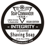 From Soap Commander:  Simple and pure, here's the perfect soap for people who suffer with allergies or sensitivities to fragrance, color, or milk.  Our Integrity Soap is unscented and made from our moisturizing, standard recipe without any additives, so you can enjoy the wholesome goodness of artisan shaving soap without any possible ill effects.